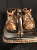 Vintage MASON MASTERPIECE Heirlooms of Babyhood Bronzed Baby Shoes Bookends (Z6)
