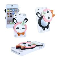 for Apple iPhone 4S 4 3D Fasion Rhinestone Bling Pink Bunny w/ Mirror Case Cover