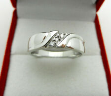 Band Ring with Diamonds Accent Solid 14k White Gold Anniversary Wedding