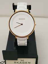 Skagen Women's watch gold tone and white  ceramic band  SKW2316 / 36mm case.