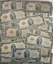 ✯1928 Circulated Rare Two Dollar Bill $2 Note Fancy Red Seal Old Paper Money Lot