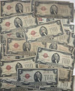 Lot of 5 1928 Circulated RARE Two Dollar Bill $2 Note Fancy Red Seal old money