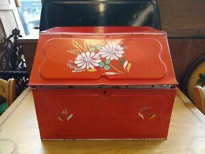 Bread Box Ransburg Metal Tin Red / Orange Floral Hand Painted Vintage Retro