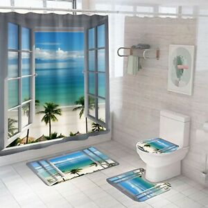 Seasid Shower Curtain Bathroom Rug Set Thick Bath Mat Non-Slip Toilet Lid Cover