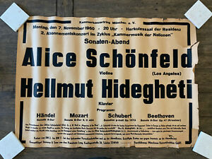 1960 Alice Schonfeld Violinist Concert Poster Germany Hellmut Hideghet