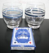 lot DUVAL Pastis anis anisette verre dauphin jeu de cartes NEUF