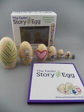 THE EASTER STORY EGG Resurrection Book + 7 Wooden NESTING EGGS EUC