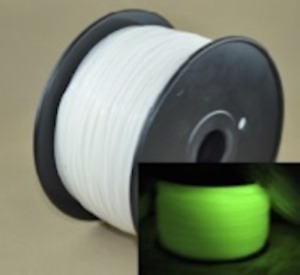 ABS 3D Printer Filament - Glow In The Dark White - Blue