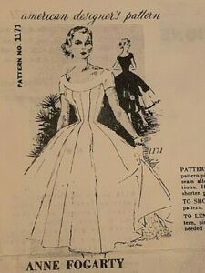 RARE 50s Spadea 1171 American Design ANNE FOGARTY Party Dress Vintage Pattern FF