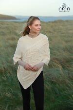 Irish Super Soft Merino Wool Natural Aran Sweater Poncho B676 367