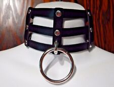 BLACK CAGE COLLAR silver rivet choker punk necklace vinyl lattice cyber goth 5A