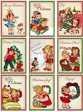 Retro Christmas Kids Glossy Finish Card Topper - Crafts Embellishment