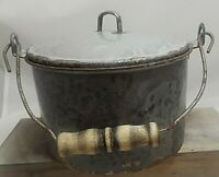 Antique Gray Graniteware Berry Pail/Lunch Bucket w/Orig. Granite Lid/Wood Handle