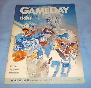 Detroit Lions Billy Sims Signed Autographed Program 1982 vs. Bears COA