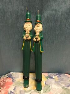 Rare Vintage St Patrick's Day leprechaun figural Wax Candle Taper Pair 11""