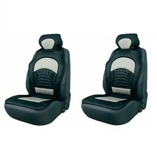 2 x Komfort Automax Sitzbezüge Sitzauflagen grau schwarz mit Rückenstütze