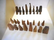 israel vintage Carved Olive Wood full chess set (32 pieces) - MINT  no board #2
