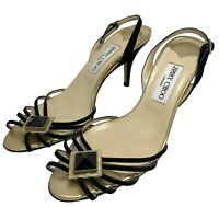 NEW, JIMMY CHOO BLACK AND GOLD EVENING SANDALS, 38.5, $695