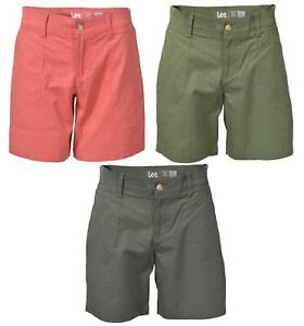 LEE Womens Plus Curve Comfort Chino Shorts Coral Pink Charcoal or Khaki