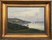 Ölgemälde Segeler auf der Förde an der Küste um 1900 Maritim 44,5 x 57 cm Antik
