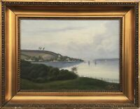 Oil Painting Segeler on The Förde at The Coast Um 1900 Maritime 17 1/2x22 3/8in