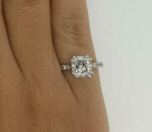 1.35 Ct Double Claw Pave Cushion Cut Diamond Engagement Ring SI1 F White Gold