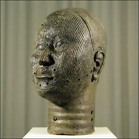 88676) Afrikanischer Bronze-Kopf Nigeria Afrika KUNST