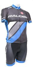 Castelli Raleigh Short Sleeve Cycling Kit Men SMALL Jersey Bib Shorts Blue CX