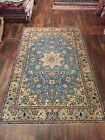 Antique Blue Hand Knotted Vintage Area Rug  Floral Traditional 6'6x10'7,#26539