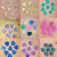 50pcs 12mm Crystal AB Flat Back Heart Resin Rhinestones Button Craft Gems DIY