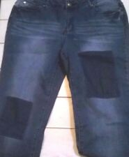 Women Adam Levine 11/12 Straight Fit Distressed Patches Blue Denim Jeans