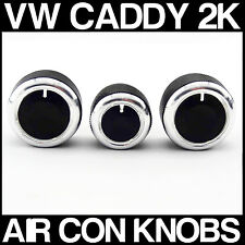 VW CADDY 2K BLACK Custom Air Con Dash Fascia Knobs Heater Dials x 3 NEW