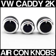 VW CADDY 2K SILVER Custom Air Con Dash Fascia Knobs Heater Dials x 3 NEW