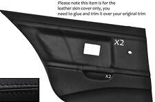 BLACK STITCH 2X REAR DOOR CARD LEATHER COVERS FITS BMW E36 SALOON SEDAN 91-98