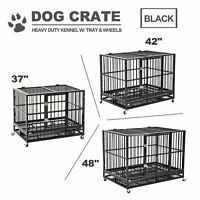 """37""""/42""""/48"""" Dog Cage Crate Heavy Duty Kennel Metal Playpen Pet Wheels Tray"""