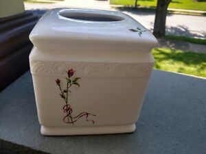 Classic  embossed Vanity Tissue Box Cover Holder & Pink Rose Design 6 x 5.5 inch