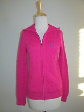 Ralph Lauren Sport Womens Size M Hot Pink Cable Zip Front Hoodie Sweater