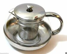 Stainless Steel Glass TEA POT Teapot w. Stainless steel Strainer filter 500ml