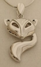 Sterling Silver Fox Pendant with 18 inch Sterling Silver Chain