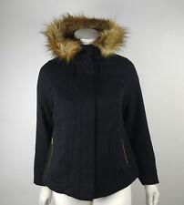 Torrid Women's Faux Fur Hood Wool Coat Black Plus Size 0/0X #119