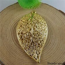 50803 Gold Tone Brass Enamel Hollow Leaf Pendants Charms Crafts Findings 5pcs