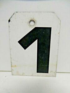 VINTAGE METAL SPORTING SCOREBOARD NUMBER EX SPORTS CLUB  HOUSE SIGN NUMBER 1