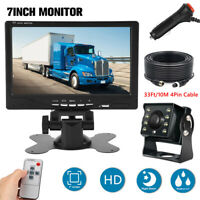 "RV Truck Bus Van Car LED Backup Camera Night Vision System+7"" Rear View Monitor"