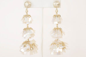 Kendra Scott Wesley white 14k gold plated mother of pearl drop earrings NEW $395