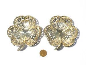 1904 Pair of Sterling Silver 3-leaf Clover Shaped Trinket Dishes Pierced Design