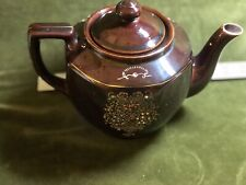 Vintage Redware Brown Teapot with Morige Enameled Flowers Made in Japan 4 1/2""