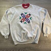 Retro 90s Double Crewneck Sweatshirt Women's Geometric Pattern Pullover Sz XL
