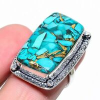Beautiful Handmade Turquoise And Sterling Silver Women\u2019s Dome Ring Size 7.5