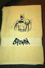 BATMAN Bust Outline/Wording Yellow Bath Towel NWOT embroidered