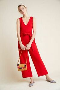 NEW ANTHROPOLOGIE RED CATHY STRUCTURED JUMPSUIT SZ XS EXTRA SMALL